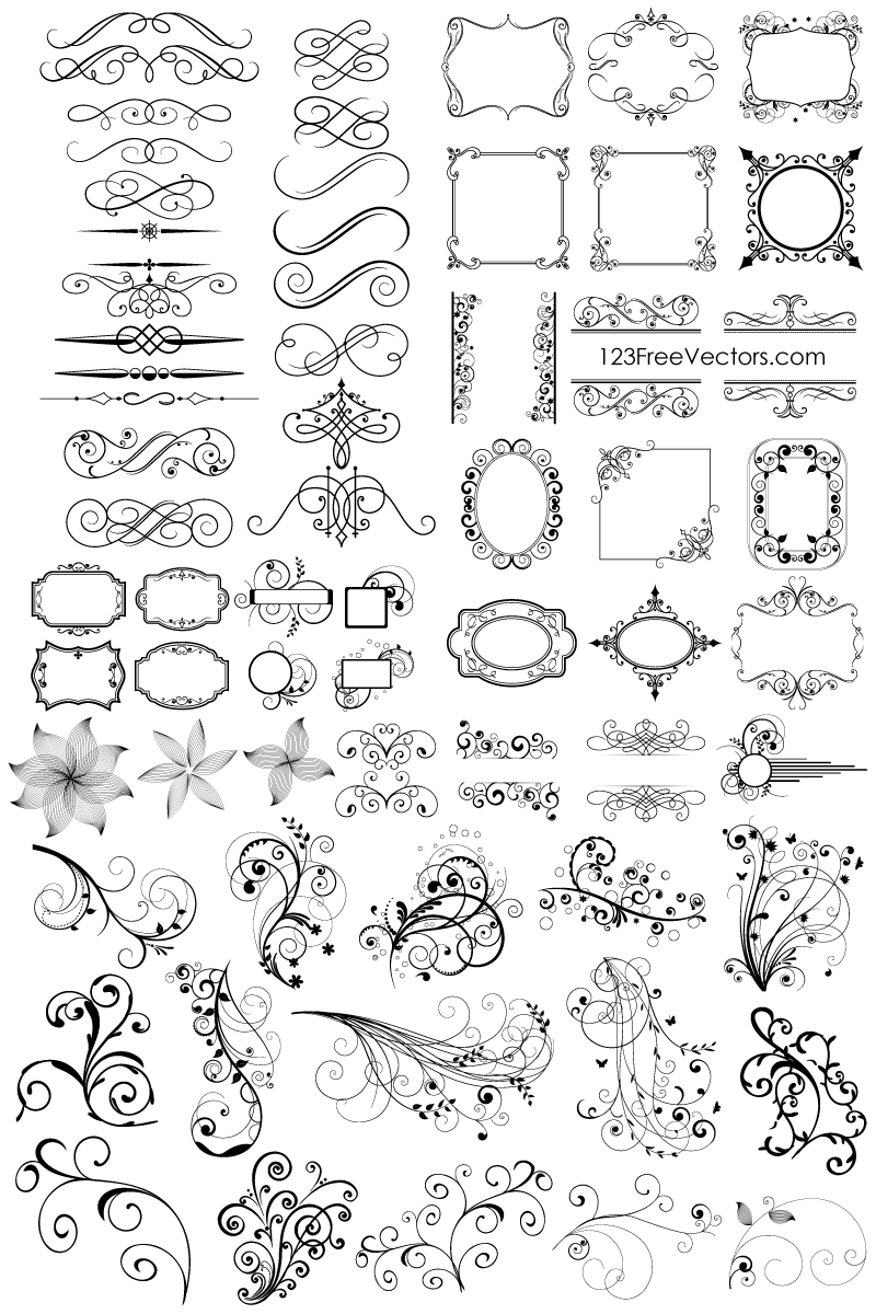 Free Download 65 Floral Decorative Ornaments Vector Pack.