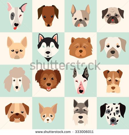 Dogs head icon set, vector flat illustrations. Popular dogs.