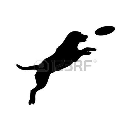 silhouette: Vector black silhouette of jumping Dog and.