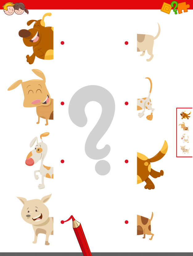 Game of matching halves of dog characters Vector.