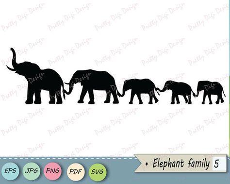 Digital Elephant family holding tails clipart, Elephant eps.