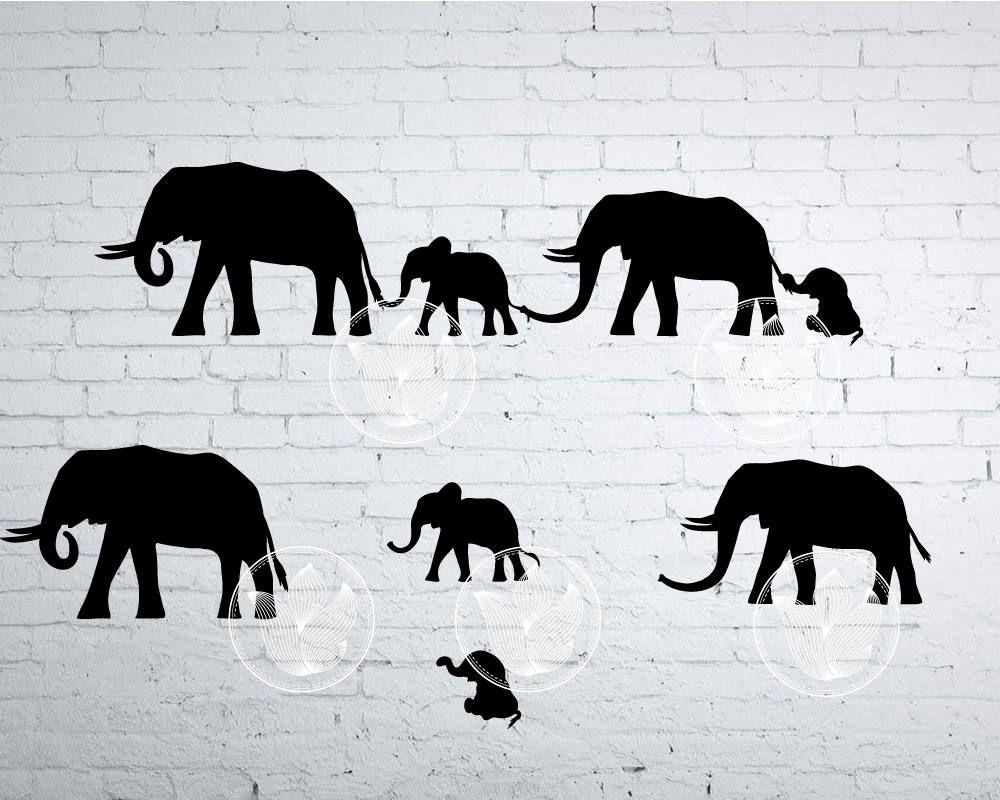 Digital Elephant family holding tails, Elephant eps, png.