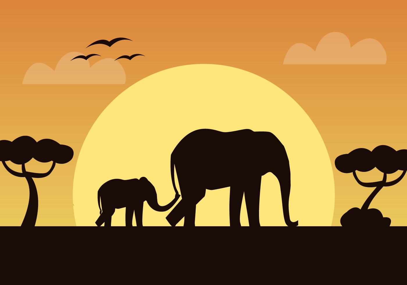 African Elephant Vector.