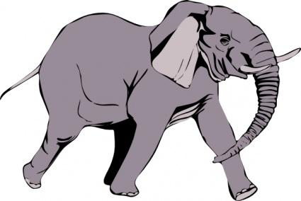 Elephant clip art free vector.