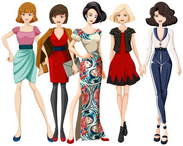 Set of fashion model character.