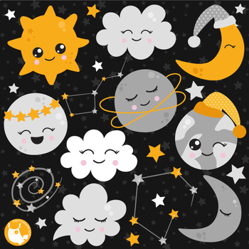 Sleepy time universe clipart commercial use, vector, digital.