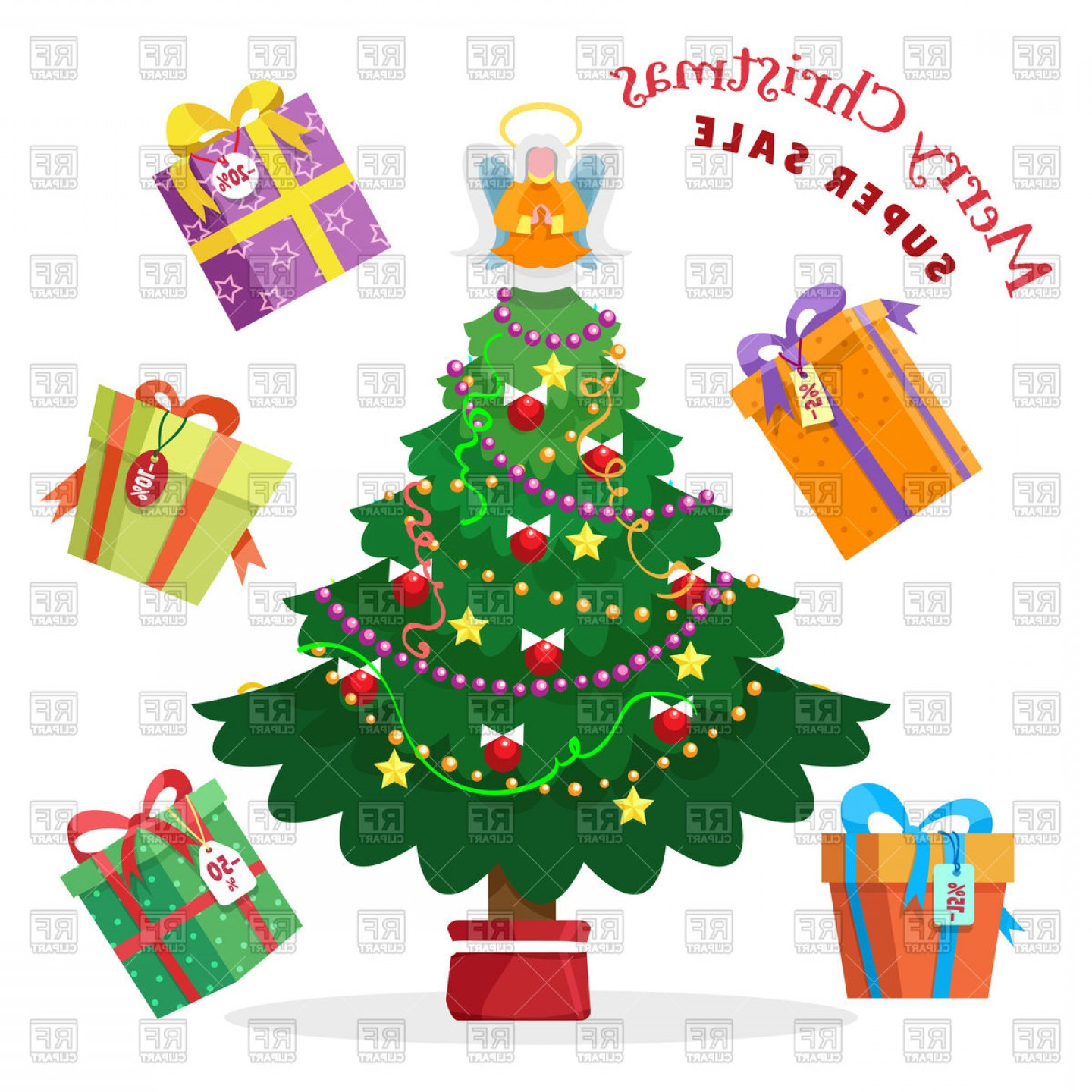 Christmas Sale Background With Fir Tree And Gift Boxes.