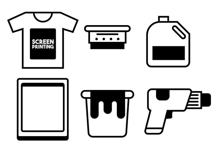 Screen printing vector set.