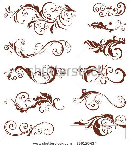 Vector swirl ornate motifs. Elements can be ungrouped for.