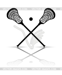 Crossed lacrosse stick and ball with reflection..