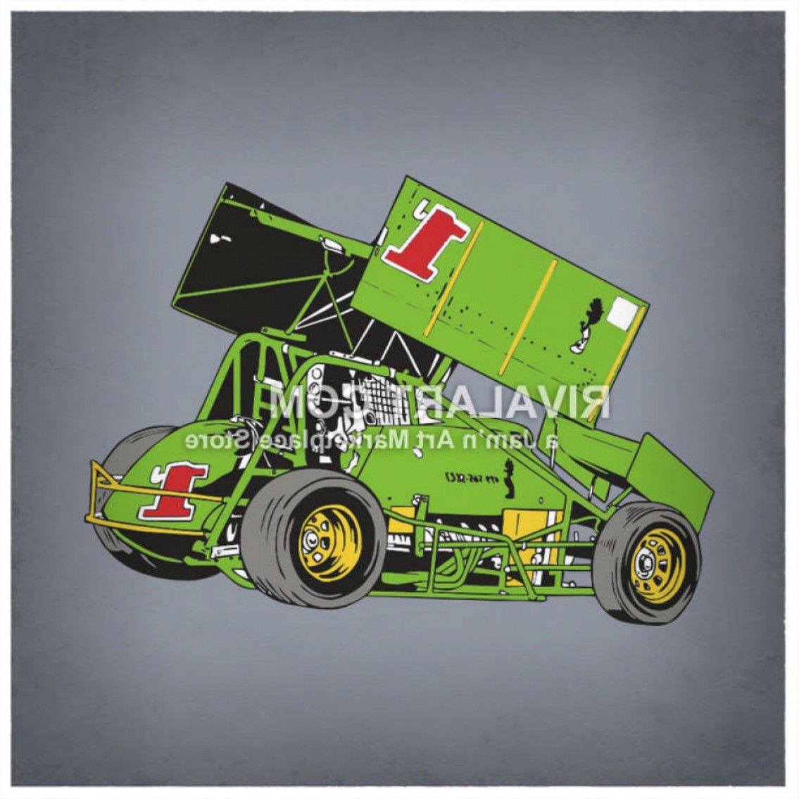 Vector Clipart Of A Vector Sprint Car Racing Race Graphic In.