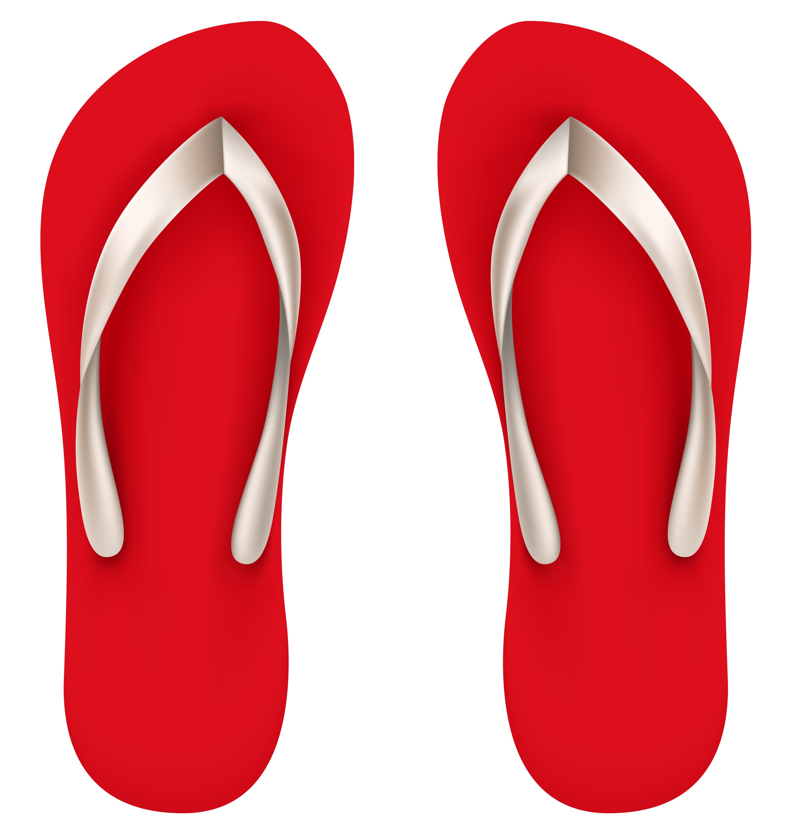 Red Beach Flip Flops PNG Vector Clipart.