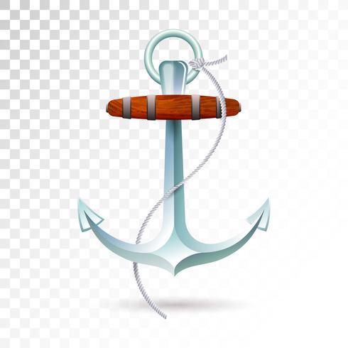 Ships anchor and rope isolated on transparent background.