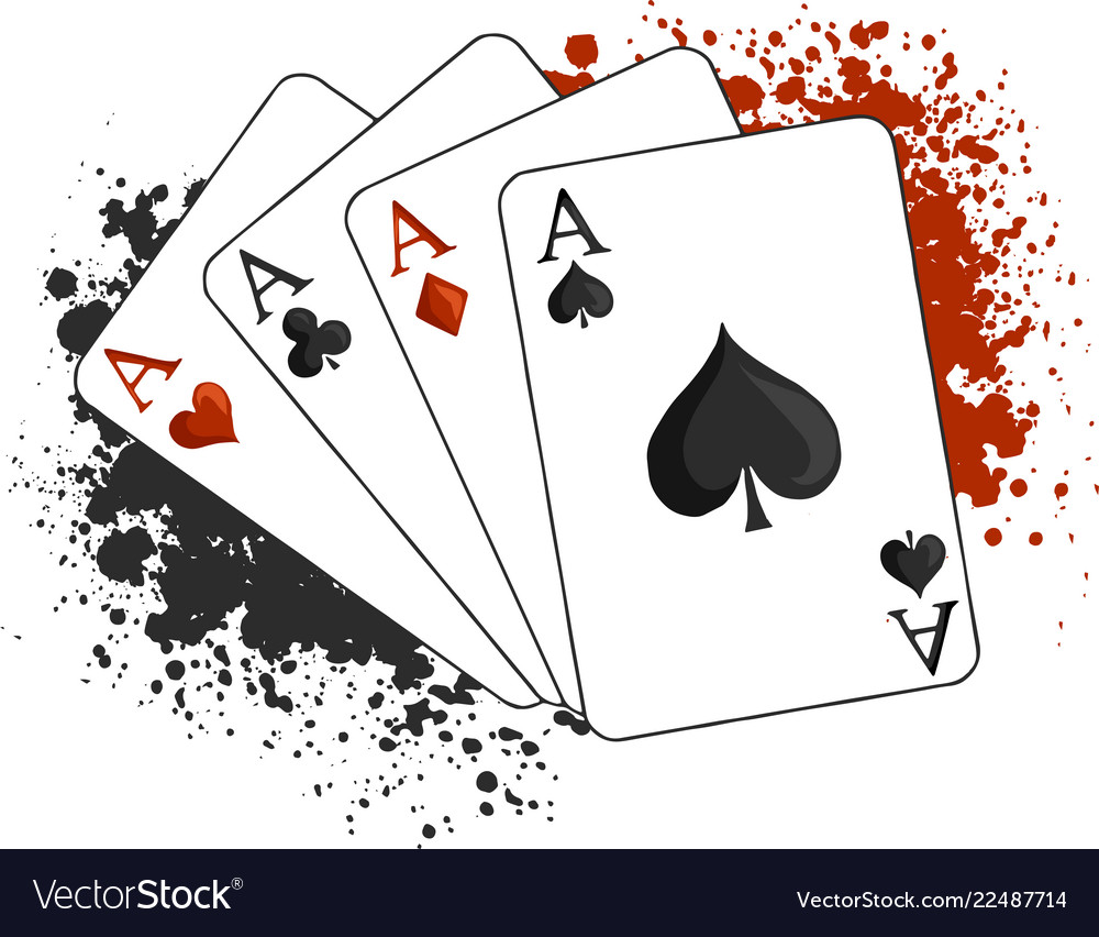 Four aces poker playing cards on white.