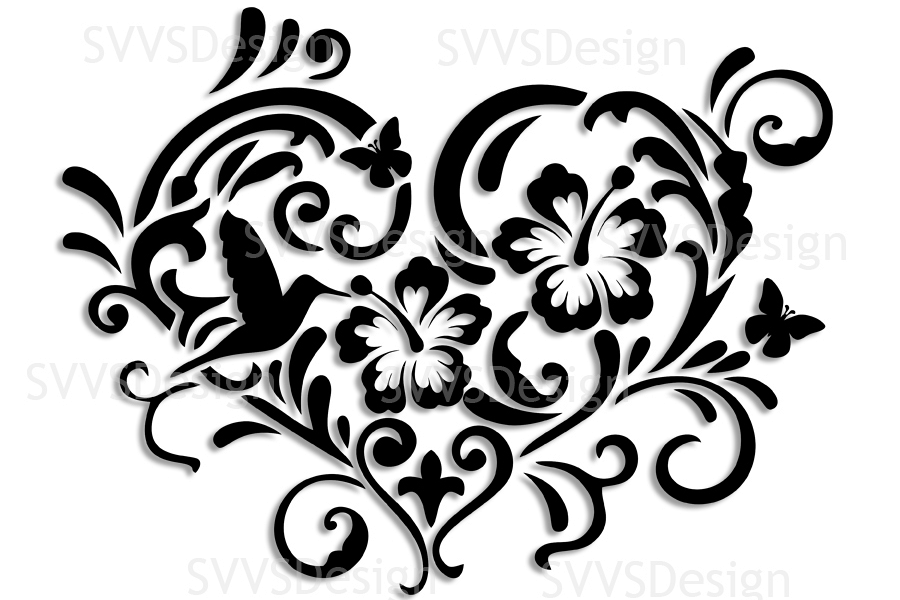 SVG and PNG cutting files, Floral Design, Clipart, Vector, SVG, PNG, Heart,  Elements (sv).