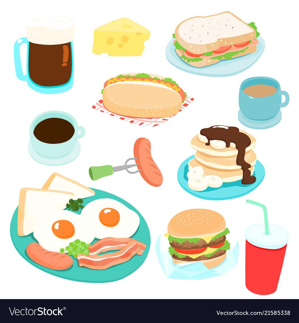 Delicious various breakfast set.