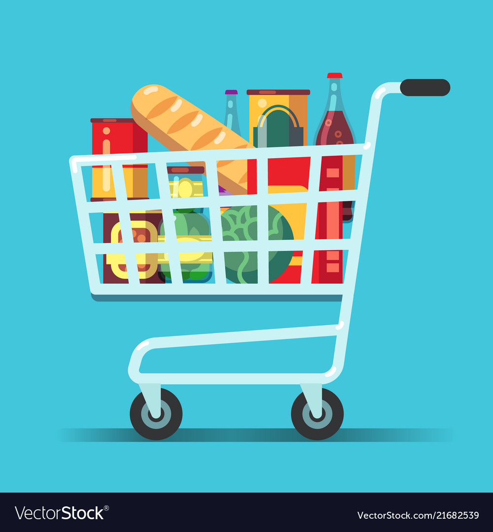 Full supermarket shopping cart shop trolley with.
