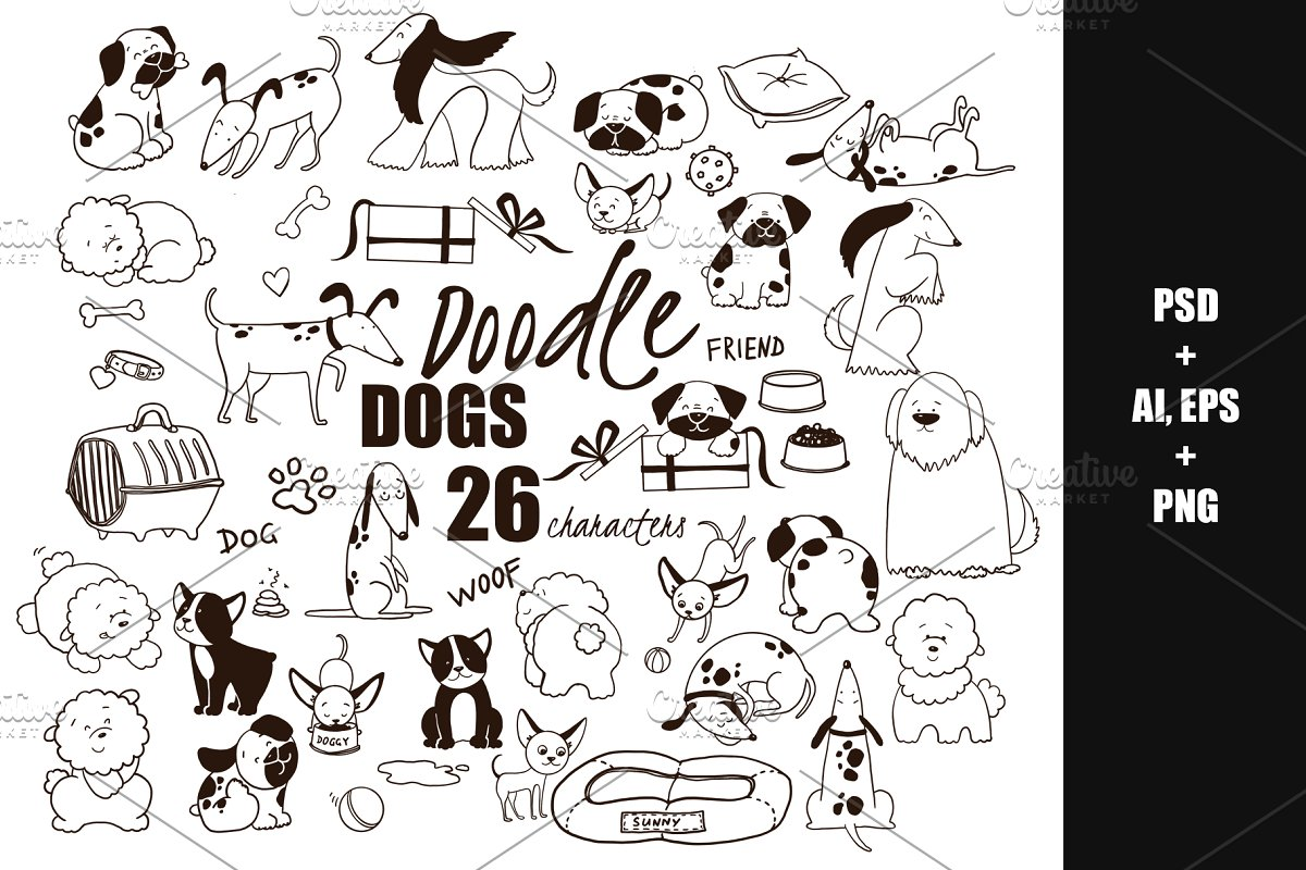 Doodle Dogs HandDrawn vector clipart ~ Illustrations.
