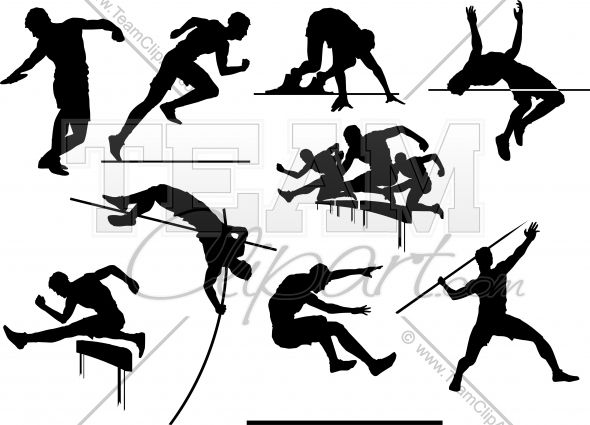Track and Field Silhouettes Vector Clipart Images.