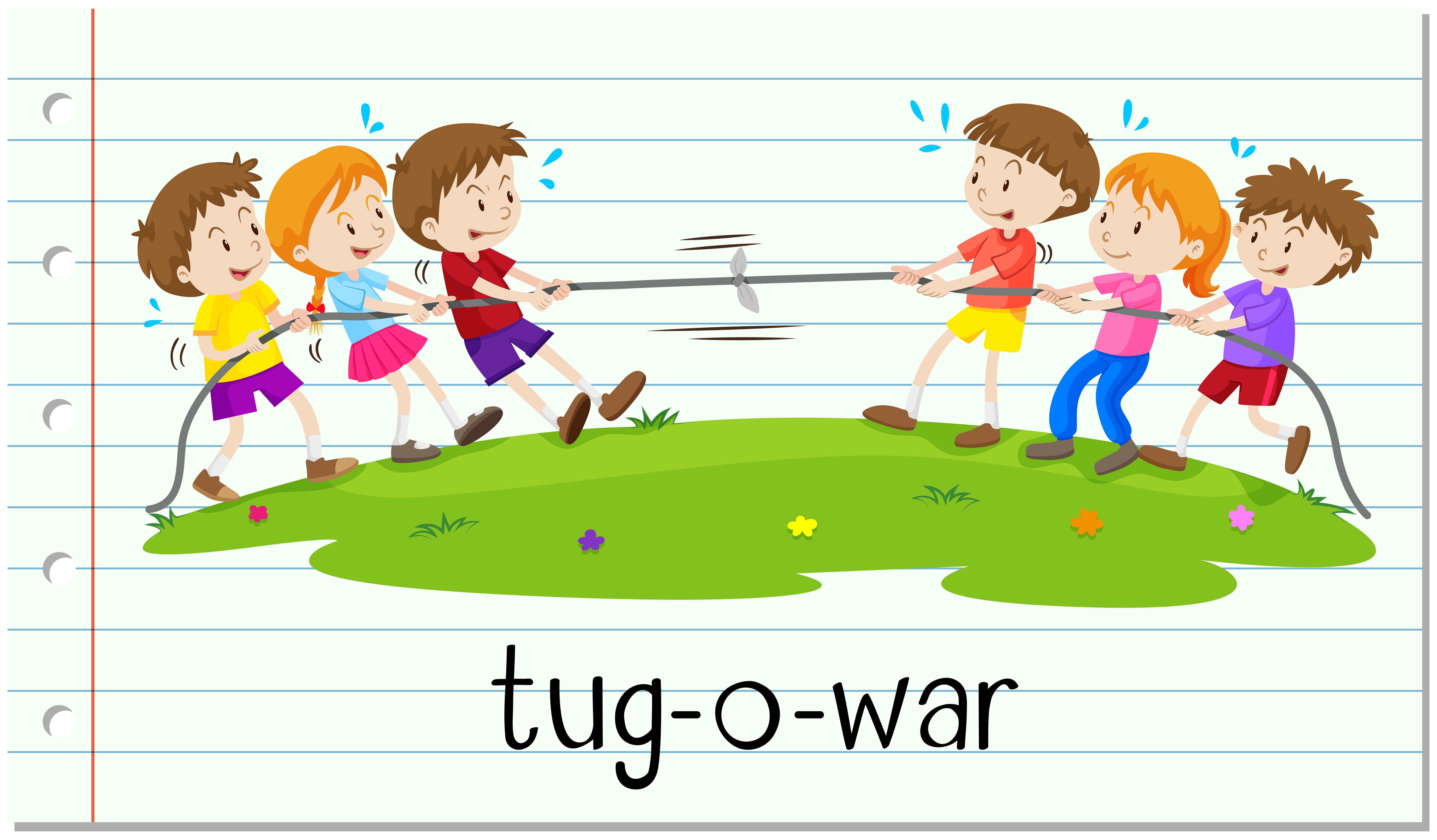 Tug Of War Free Vector Art.