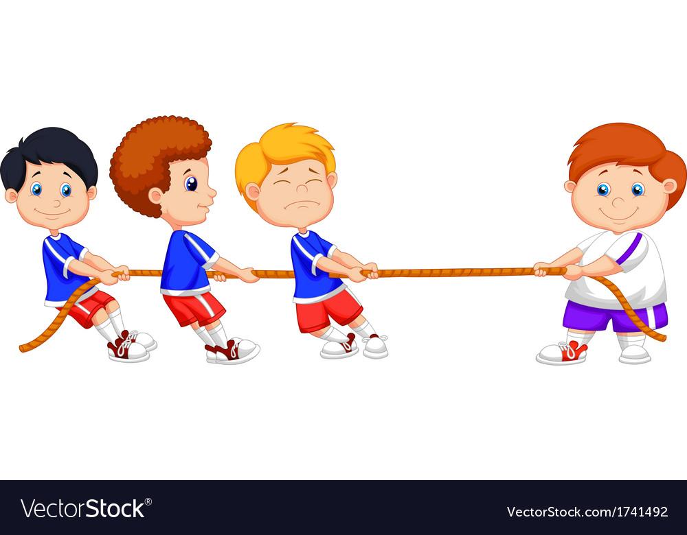 Kids cartoon playing tug of war.