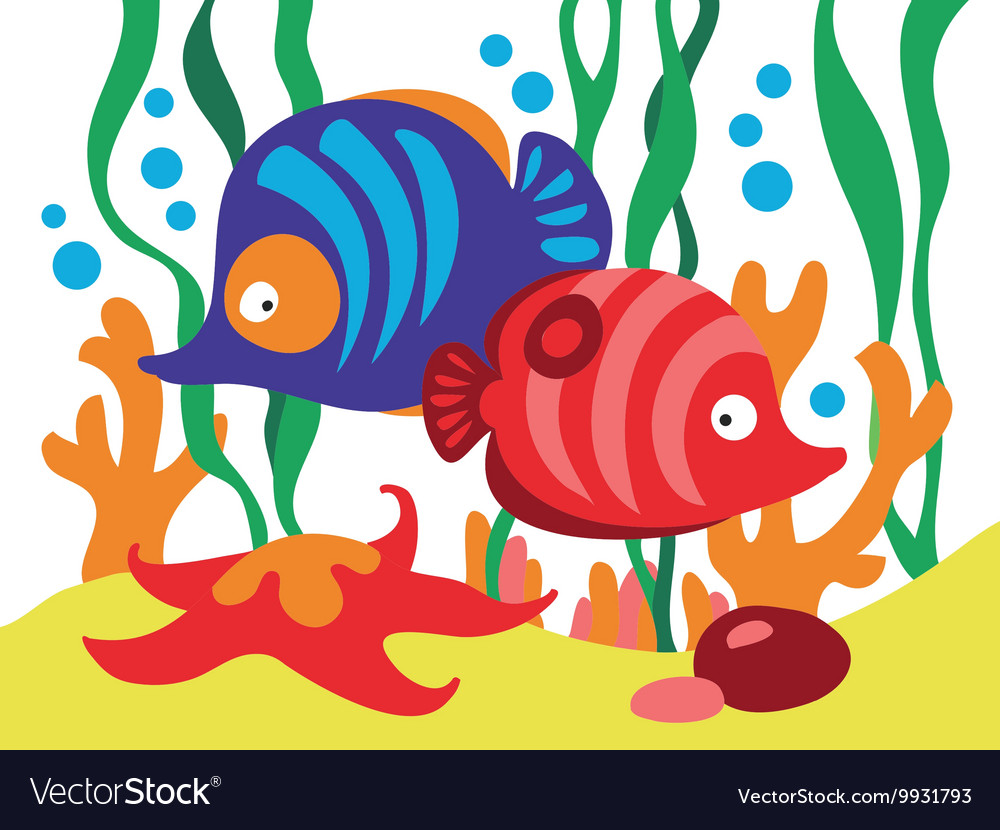 Two cute cartoon fishes under the sea.