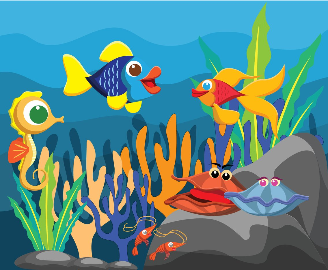 Under Sea Animals Vector Vector Art & Graphics.