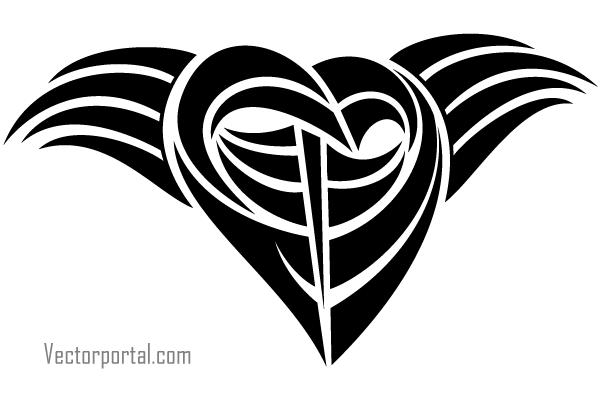 Tattoo Tribal Heart Vector Clip Art Image.