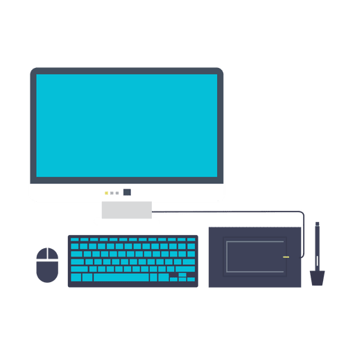 Computer set flat icon.