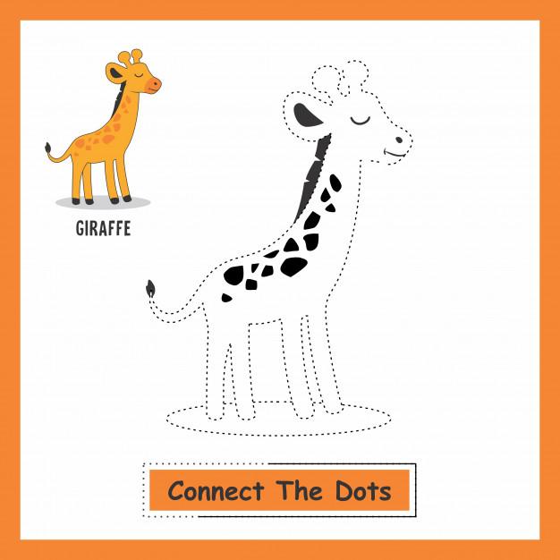 Connect the dots animals giraffe Vector.