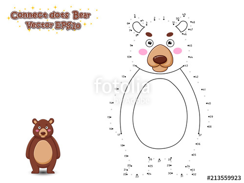 Connect The Dots and Draw Cute Cartoon Bear. Educational.