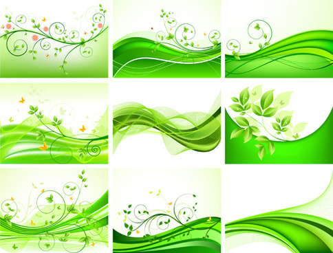Color abstract green leaves background free vector download.