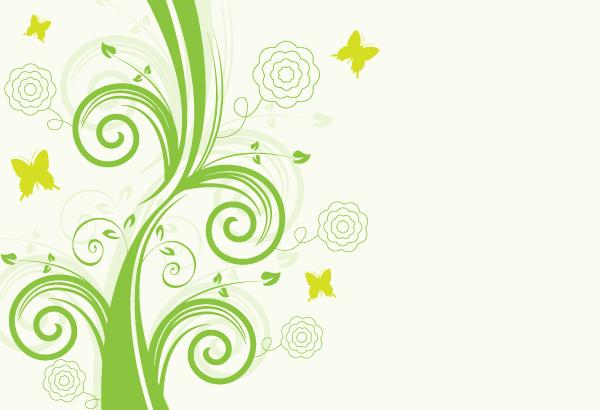 Green Floral Design Vector Background.