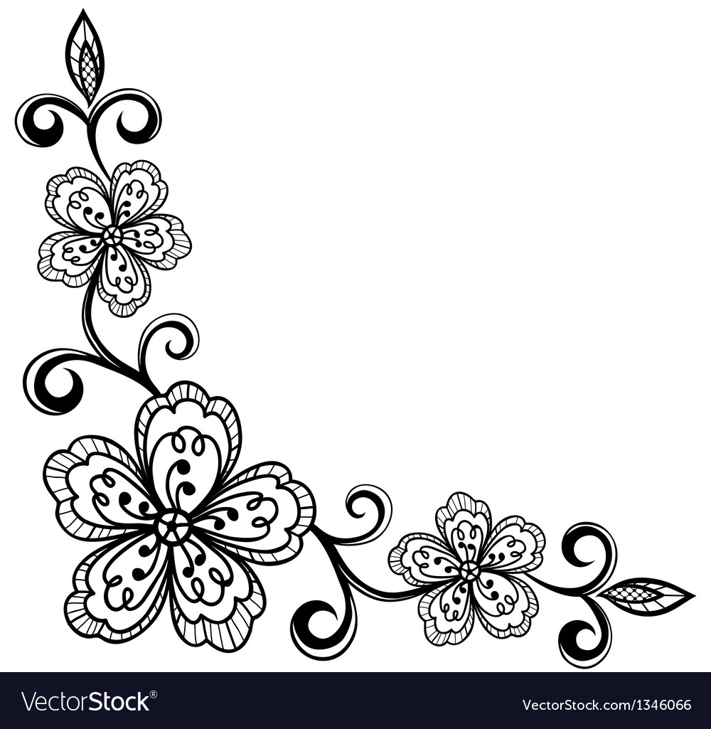 Corner ornamental lace flowers black and white.