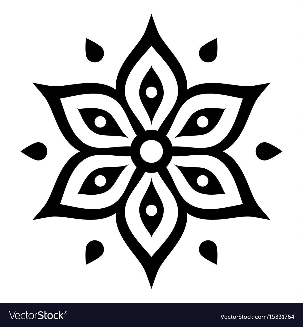 Boho flower design inspired by mehndi.