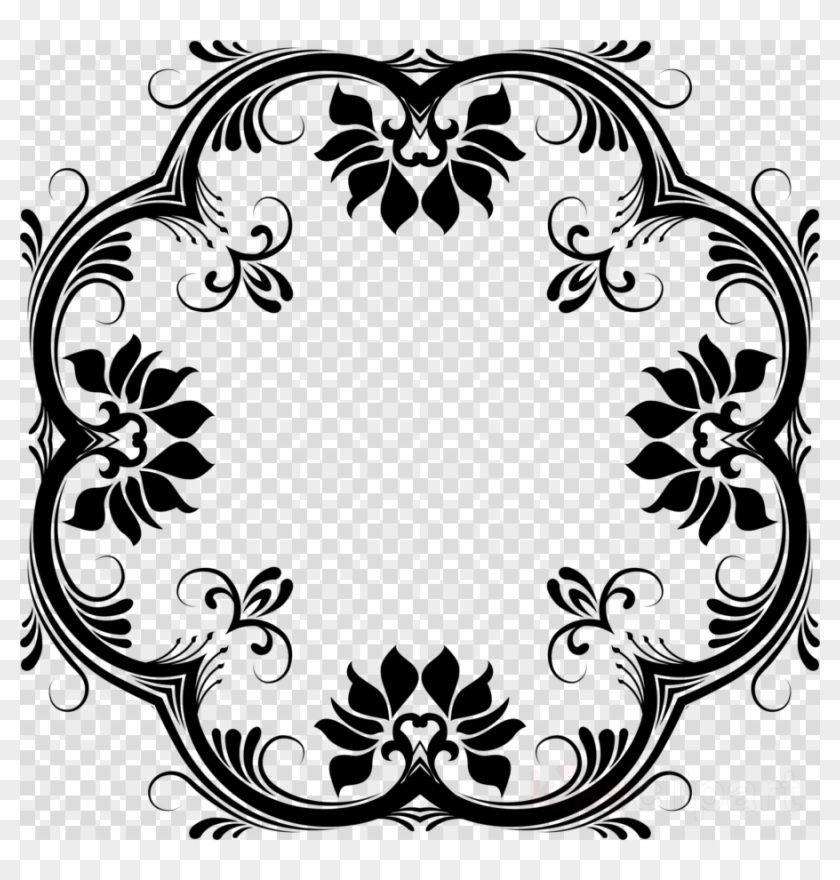 Download Vector Design Black And White Floral Png Clipart.
