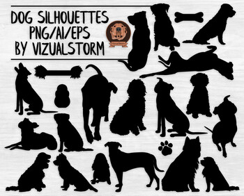 Vector Dog Silhouette Clipart.