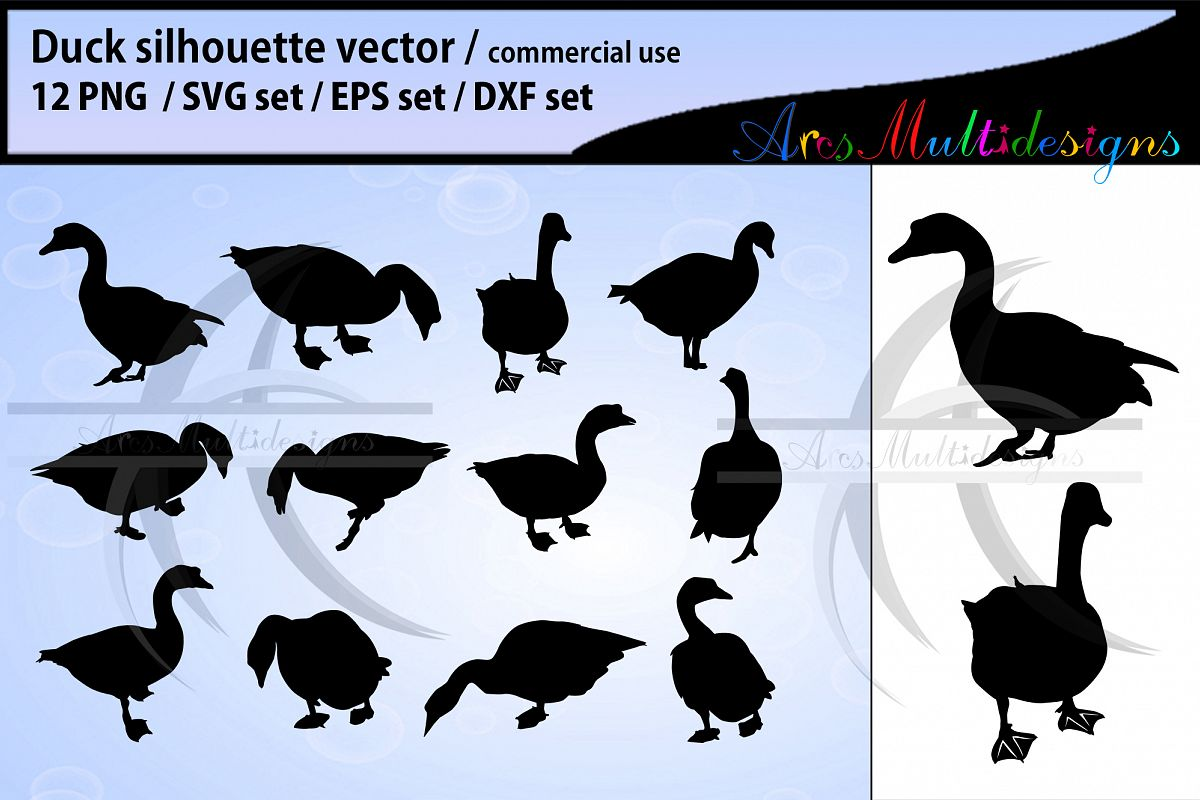Duck silhouette svg duck clipart duck vector.