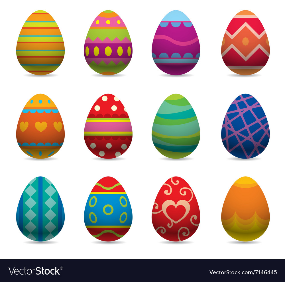 Easter eggs flat syle icons isolated on.