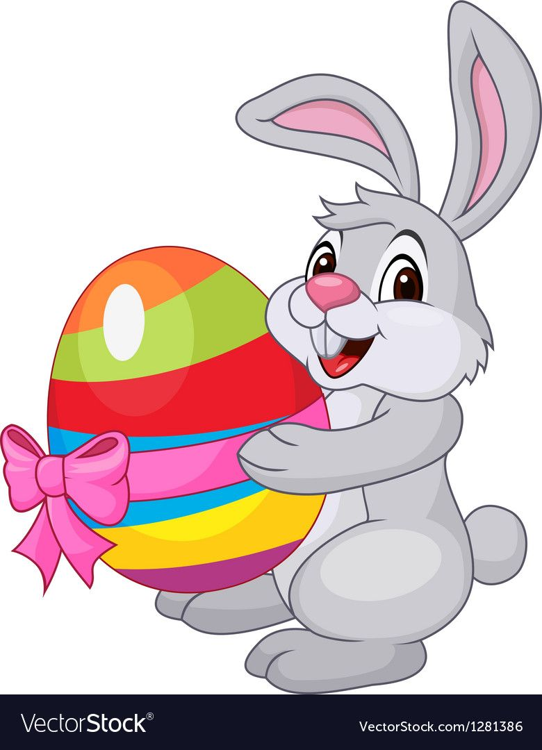 Cute rabbit cartoon holding easter egg Royalty Free Vector.