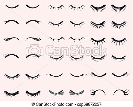 Eyelashes set. Woman beauty Closed eyes. False lashes collection. vector.