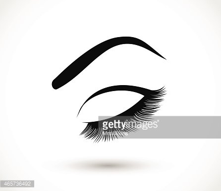 Eyelashes and eyebrows vector illustration Clipart Image.