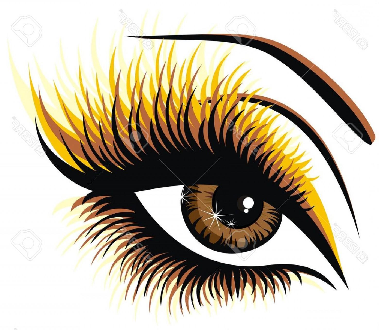 Cartoon Blue Eyes Clipart With Eyelashes.