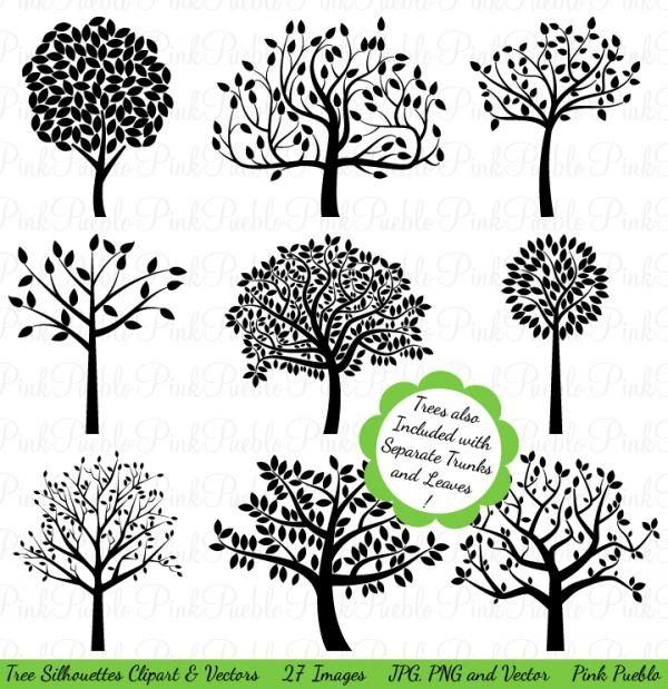 Tree Silhouette Clip Art & Vectors.