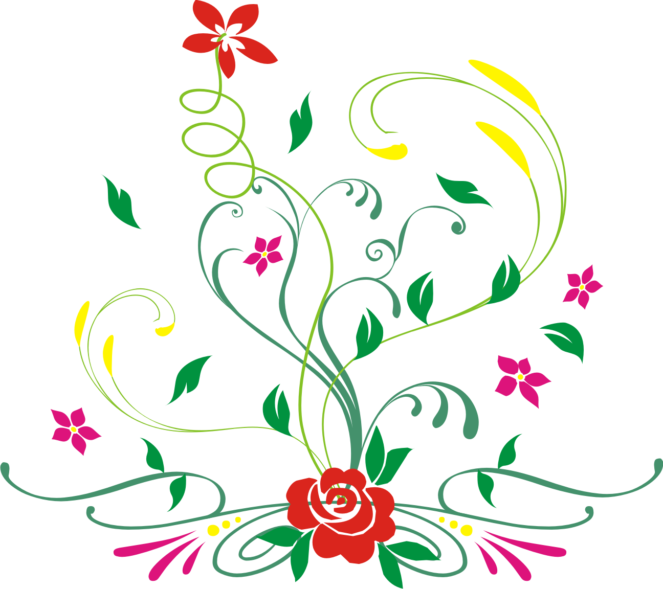 12 Floral Design Flower Vector PNG Images.