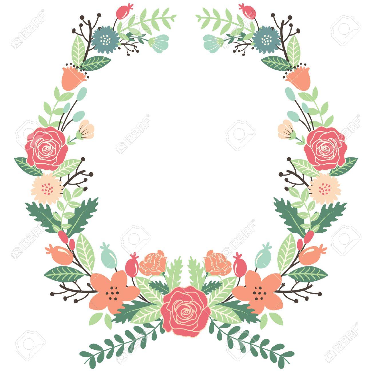 Vintage Floral Wreath Clipart.