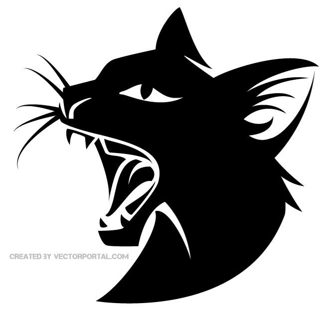 Wild Black Cat Image Free Vector.