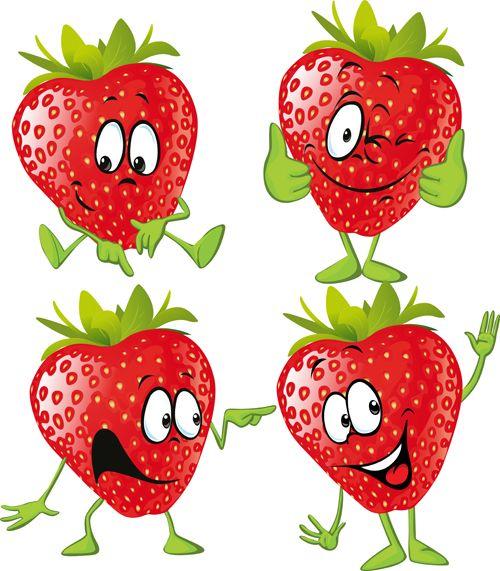 Funny strawberry cartoon characters vector.