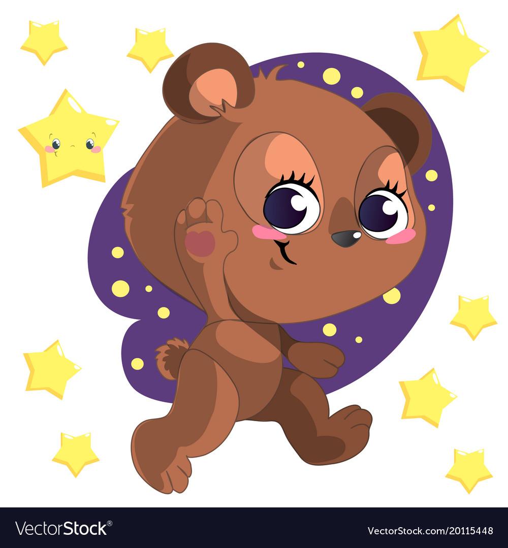 Funny cute go bed cartoon bear clipart with.