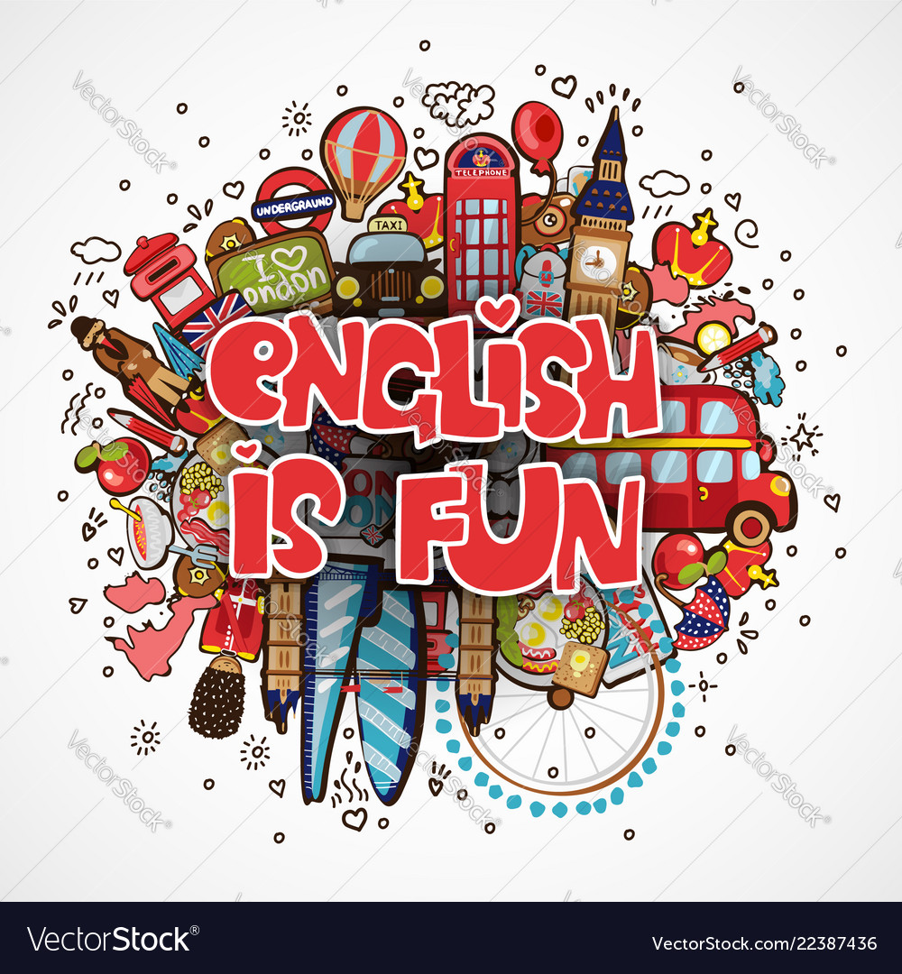 Phrase english is fun educational and travelling.